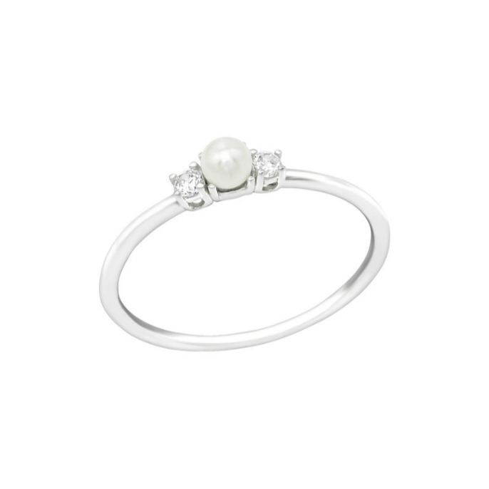 Children's Rings:  Sterling Silver, Pearl and CZ Rings Size 7