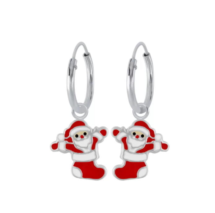 Children's Earrings:  Sterling Silver 10mm Hoops with Santa Dangles