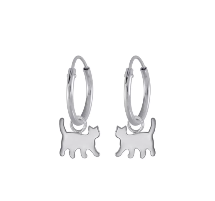 Children's Earrings:  Sterling Silver 10mm Hoops with Tiny Silver Cat Dangles
