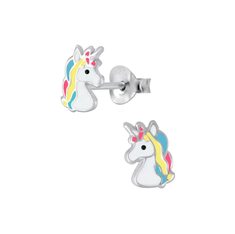 Children's Earrings:  Sterling Silver Pink, Yellow and Blue Unicorn Head Earrings