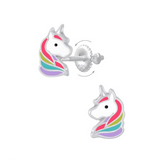 Children's Earrings:  Sterling Silver Unicorn Head Screw Back Earrings