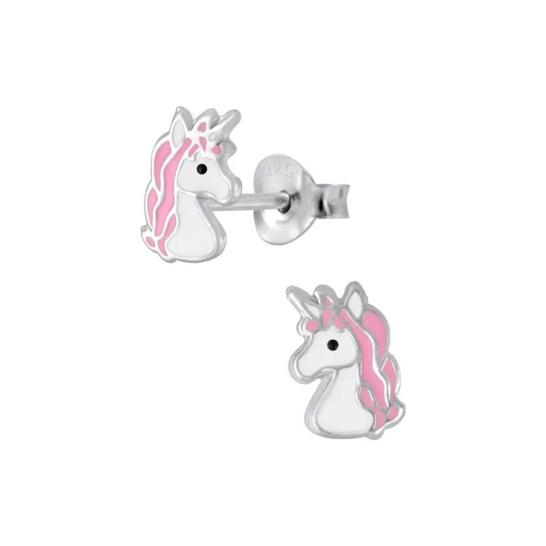 Children's Earrings:  Sterling Silver Pink and White Unicorn Head Earrings