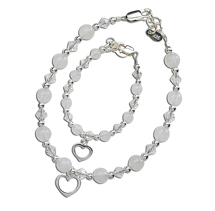 Mother and Baby Bracelet Sets:  Sterling Silver, Swarovski White and Clear Crystals with Open Heart Charms