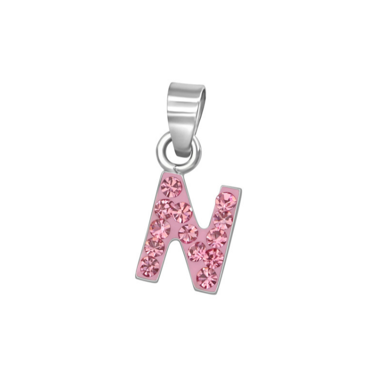 "Baby and Toddler Necklaces:  Sterling Silver, Pink CZ Encrusted Initial ""N"" Necklaces on 12"" or 13"" Chains"