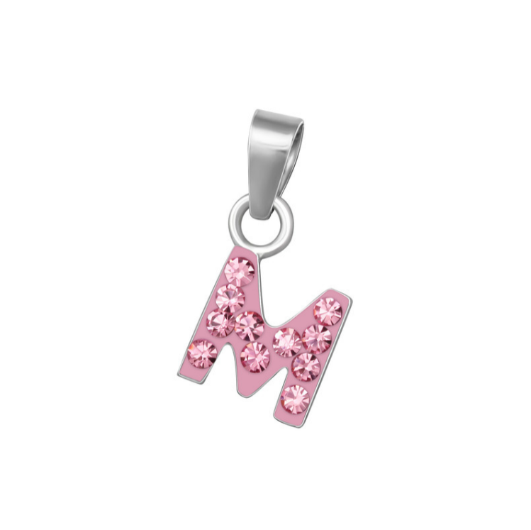 "Baby and Toddler Necklaces:  Sterling Silver, Pink CZ Encrusted Initial ""M"" Necklaces on 12"" or 13"" Chains"