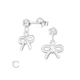 Children's Earrings:  Sterling Silver La Crystale CZ Stud with Bow Dangle
