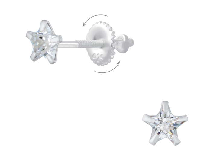 Children's Earrings:  Sterling Silver Clear CZ Stars with Screw Backs 6mm