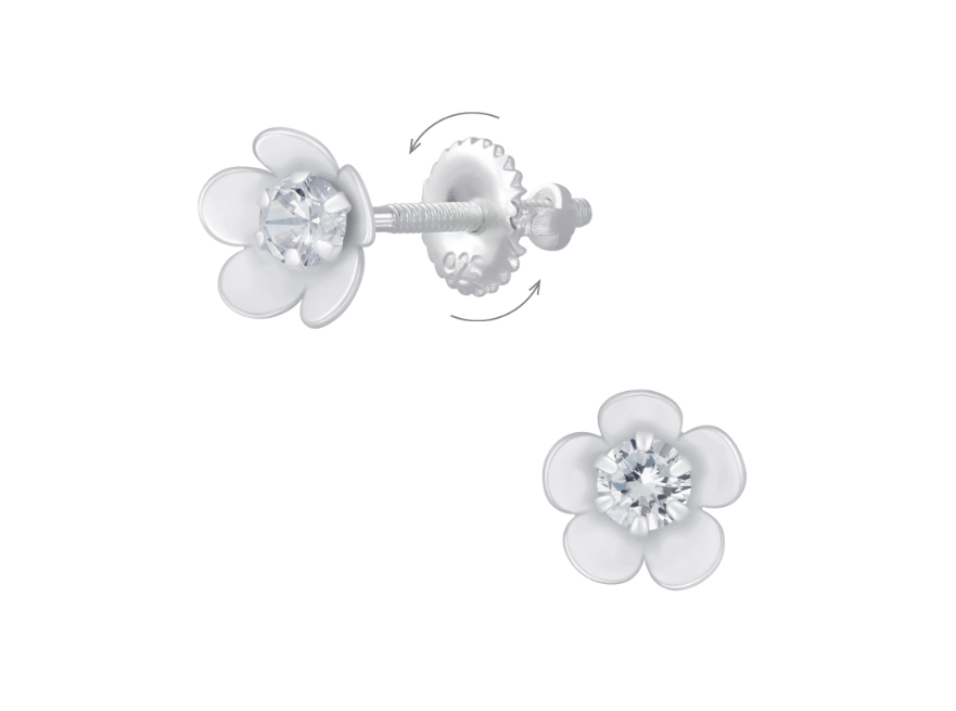 Children's Earrings:  Sterling Silver Flowers with Clear CZ  and Screw Backs 6mm