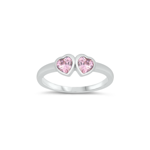 Children's Rings:  Sterling Silver Double Heart Pink CZ Size 2