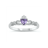 Children's Rings - Sterling Silver Claddagh Ring with Amethyst CZ Heart Size 4