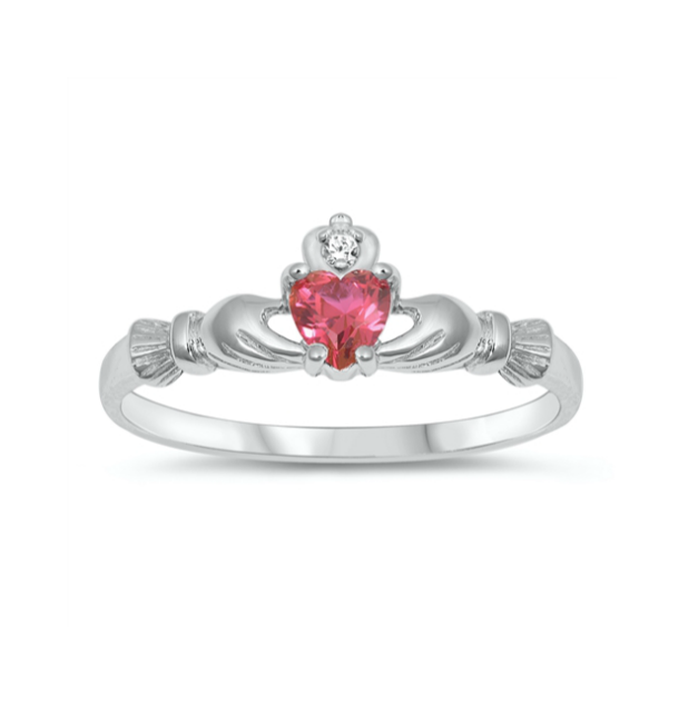Children's Rings - Sterling Silver Claddagh Ring with Ruby CZ Heart Size 6