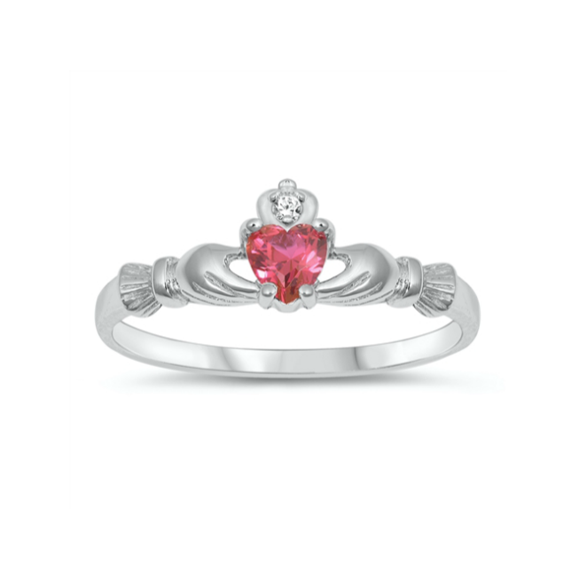 Children's Rings - Sterling Silver Claddagh Ring with Ruby CZ Heart Size 4