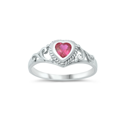 Children's Rings:  Sterling Silver Ruby CZ Heart Rings Size 3