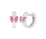 Children's Earrings:  Sterling Silver Enamelled Pink Bow Huggies