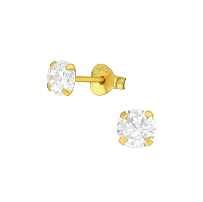 Teens' and Children's Earrings:  Surgical Steel with Gold IP, Clear CZ Studs 5mm
