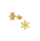 Baby and Children's Earrings:  Surgical Steel, IP Gold Flower Earrings with CZ