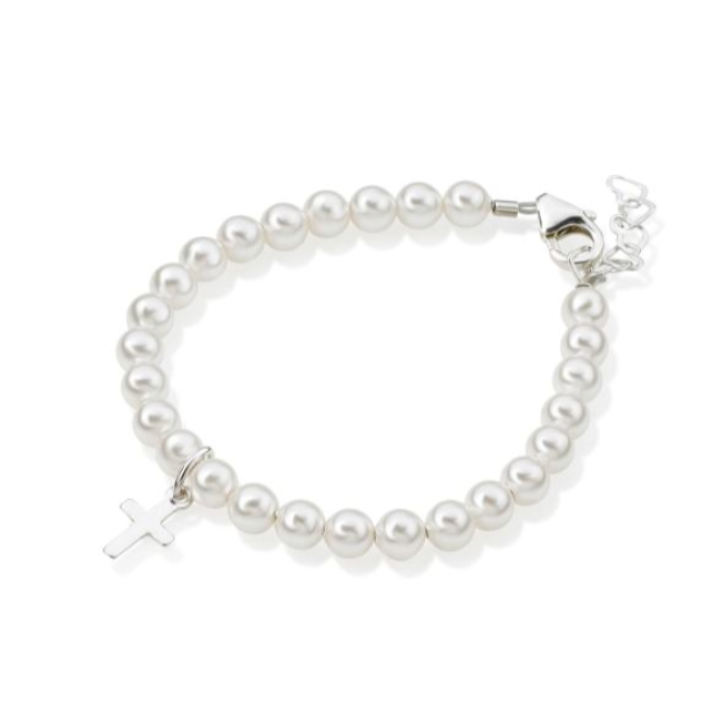 Baby Bracelets:  Sterling silver Swarovski Pearl Christening Bracelet with Single Cross 3 months - 2.5