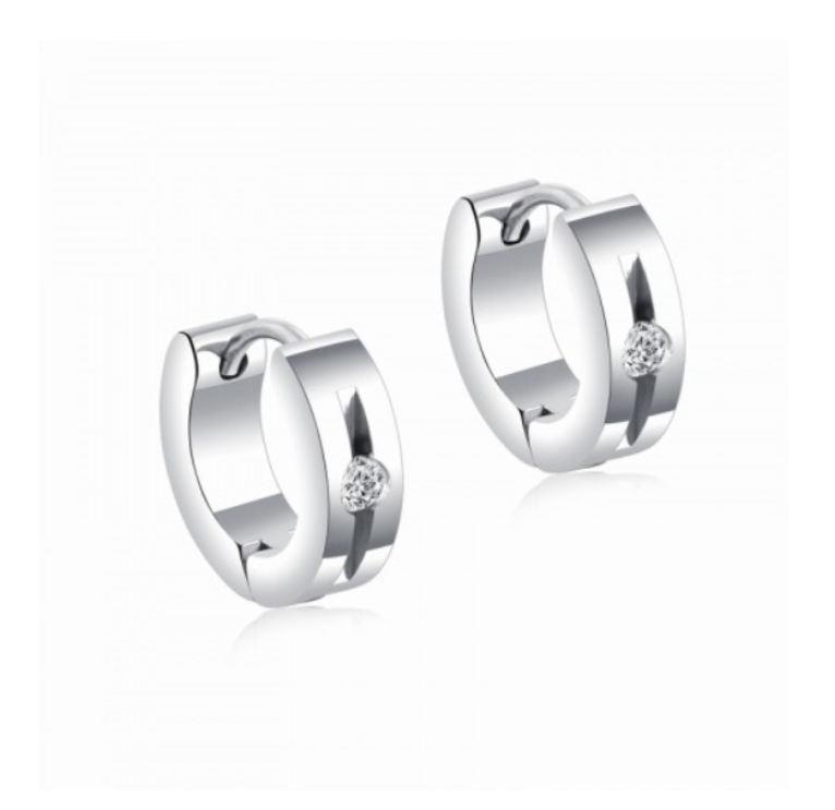 Children's, Teens' and Mother's Earrings:  Titanium Huggies with CZ