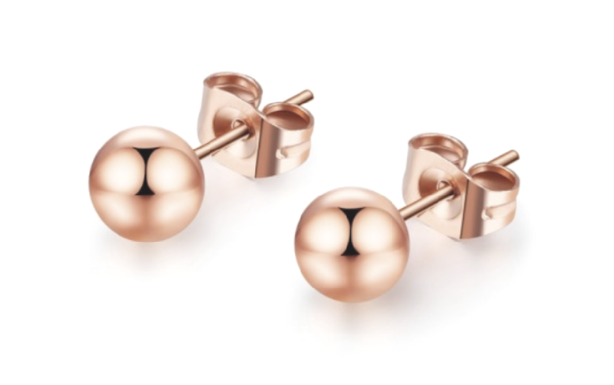Children's, Teens' and Mothers' Earrings:  Titanium with Rose Gold IP Ball Studs 6mm