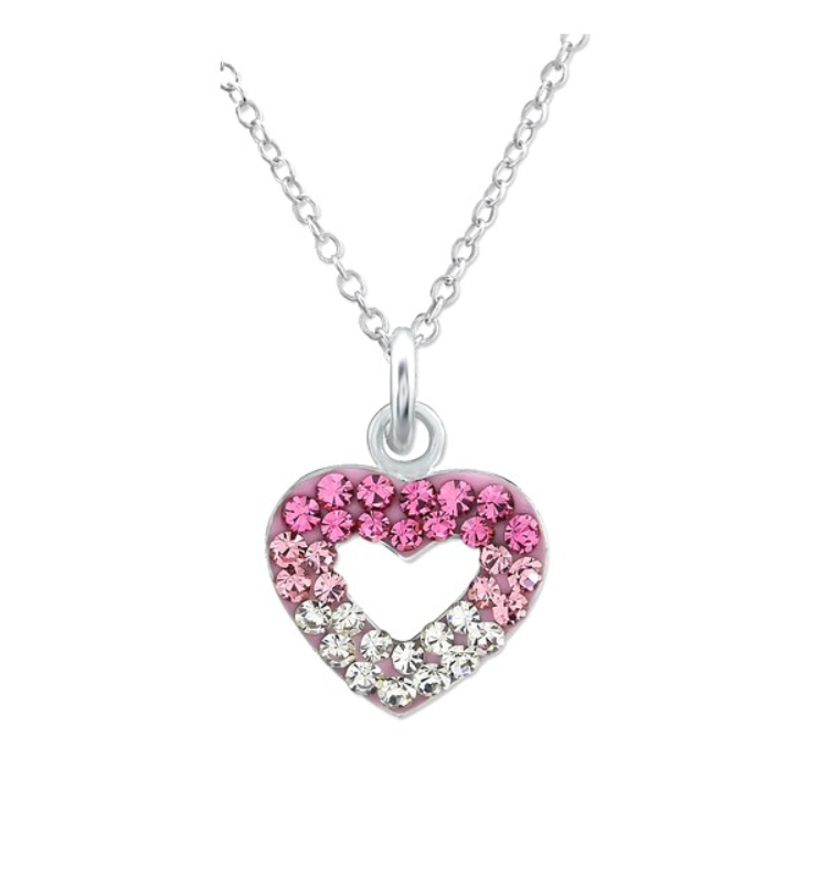 Children's Necklaces:  Sterling Silver Pink and White Crystal Open Heart Necklaces
