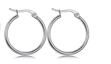 Teens' and Mothers' Earrings:  Surgical Steel Hinged Hoops 20mm