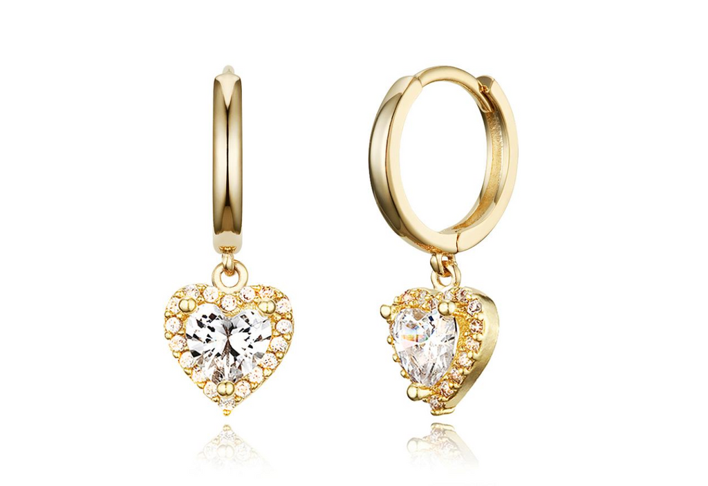 Children's Earrings:  14k Gold Plated Clear CZ Huggie Hoops with Halo Hearts