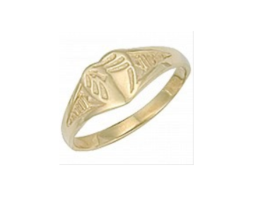 Children's Rings:  9k Gold Engraved Heart Ring Size F