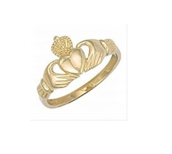 Children's Rings:  9k Gold Claddagh Ring Size G