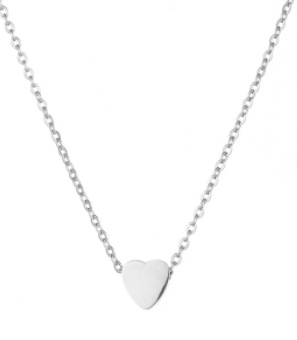 Children's, Teens' and Mothers' Necklace:  Polished, Surgical Steel, Minimalist Heart Necklace