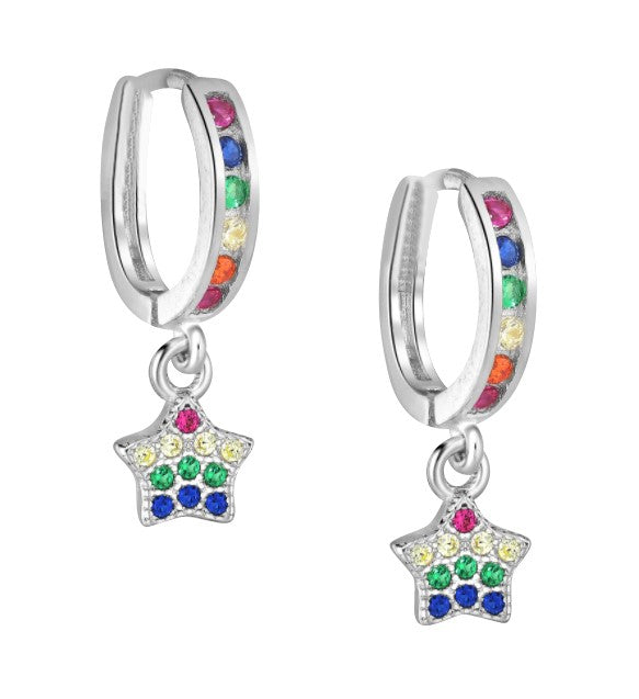 Children's Earrings:  Sterling Silver Huggies with Rainbow CZ Star Charms