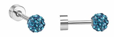 Children's Earrings:  Surgical Steel Dark Aqua CZ Disco Ball Screw Back Earrings 4mm