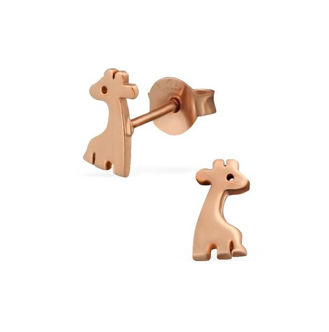 Children's Earrings:  Rose Gold Over Sterling Silver Giraffes
