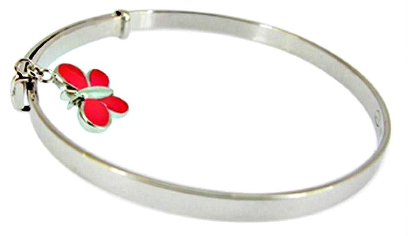 Children's Bracelets:  Sterling Silver Adjustable Bangle with Dark Pink Butterfly Charm
