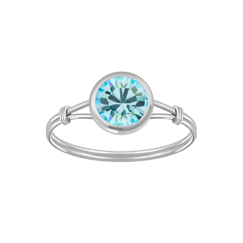 Children's Rings:  Sterling Silver Aqua CZ Ring Size 6