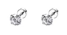 Newborn Baby Earrings:  Surgical Steel 3mm Clear CZ Studs with Disc Style Screw Backs
