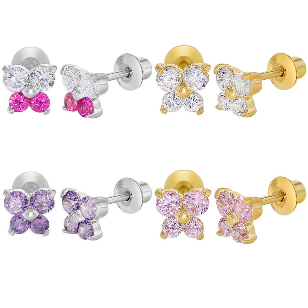 Baby and Children's Earrings:  18k Gold Filled and White Gold Filled Screw Back Earrings x 4 Pairs