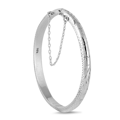 Children's Bangles:  Classic, Sterling Silver 5cm Hinged Bangles with Safety Chain