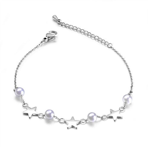 Children's and Teens' Bracelets/Anklets:  Titanium Star and Pearl Bracelets