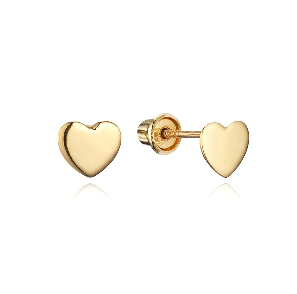 Baby and Children's Earrings:  Simple 14k Gold Heart Earrings with Screw Backs 4mm with Gift Box
