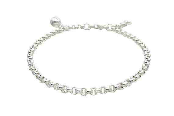 Baby and Children's Anklets:  Sterling Silver Rolo Anklets with Bell