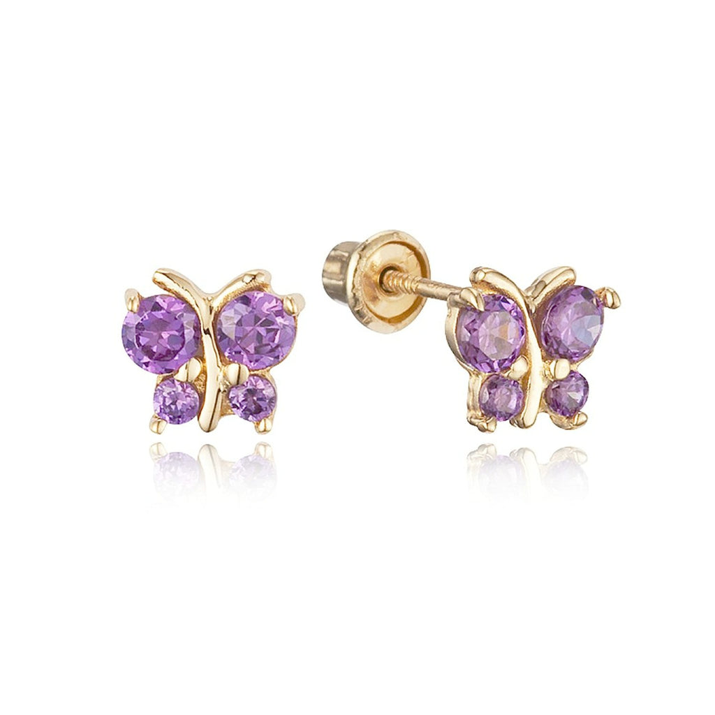 Baby and Children's Earrings:  14k Gold Amethyst CZ Butterflies with Screw Backs