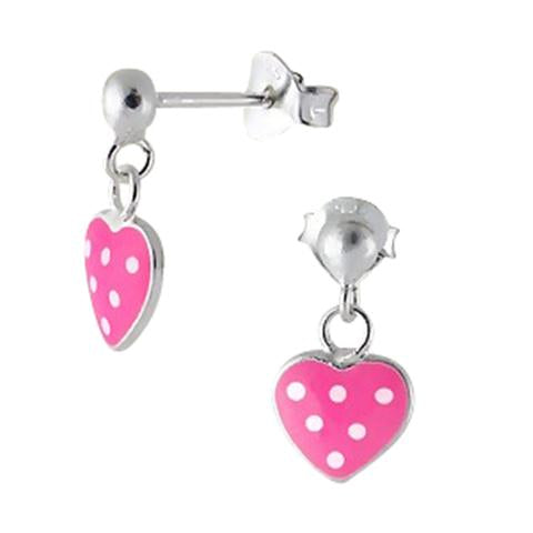 Children's Earrings:  Sterling Silver Pink with White Dots Heart Earrings