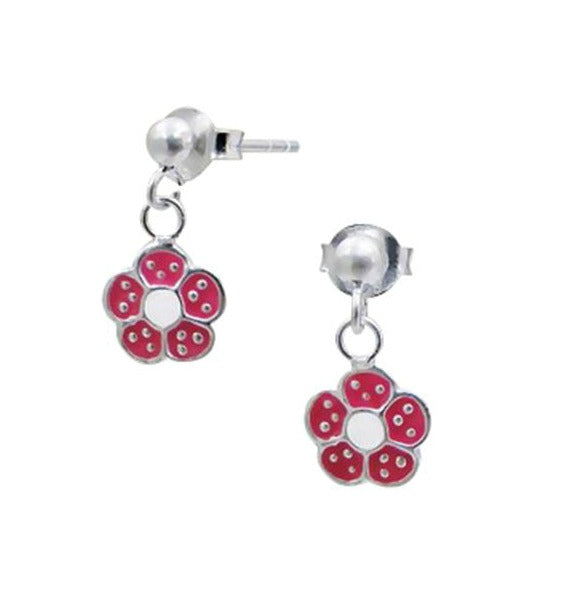 Children's Earrings:  Sterling Silver Pink Dangly Flower Earrings