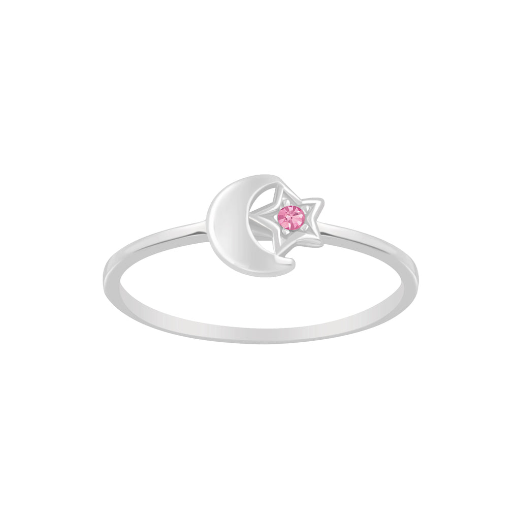 Children's Rings:  Sterling Silver Moon and Stars with CZ Ring Size 6