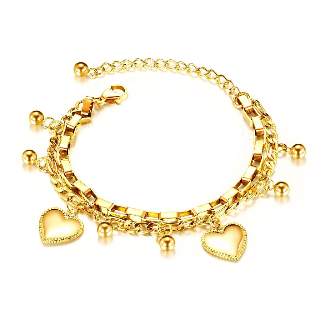 Children's and Teens' Bracelets:  Surgical Steel, Gold IP Layered Bracelet with Hearts and Balls with Gift Box