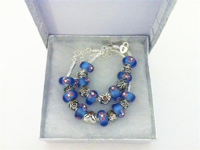Baby and Children's Bracelets:  European Style Bracelets with Blue and Pink Lampwork Beads