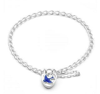 Children's Bracelets:  Sterling Silver Bluebird Padlock Bracelets with Safety Chain with Gift Box