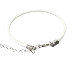 Children's Bracelets:  White, Woven Leather Bracelets