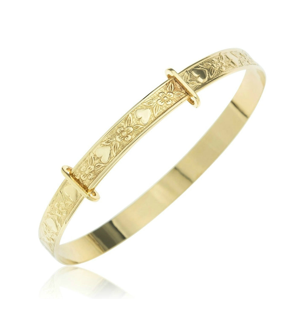 Baby and Children's Bangles:  9k Gold, Exquisitely Embossed Expander Bangle