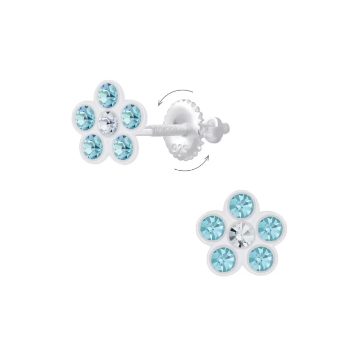 Baby and Children's Earrings:  Sterling Silver Aqua Crystal Flower Screw Backs